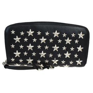 JIMMY CHOO Star Studded Long Zippy Wallet Purse Le
